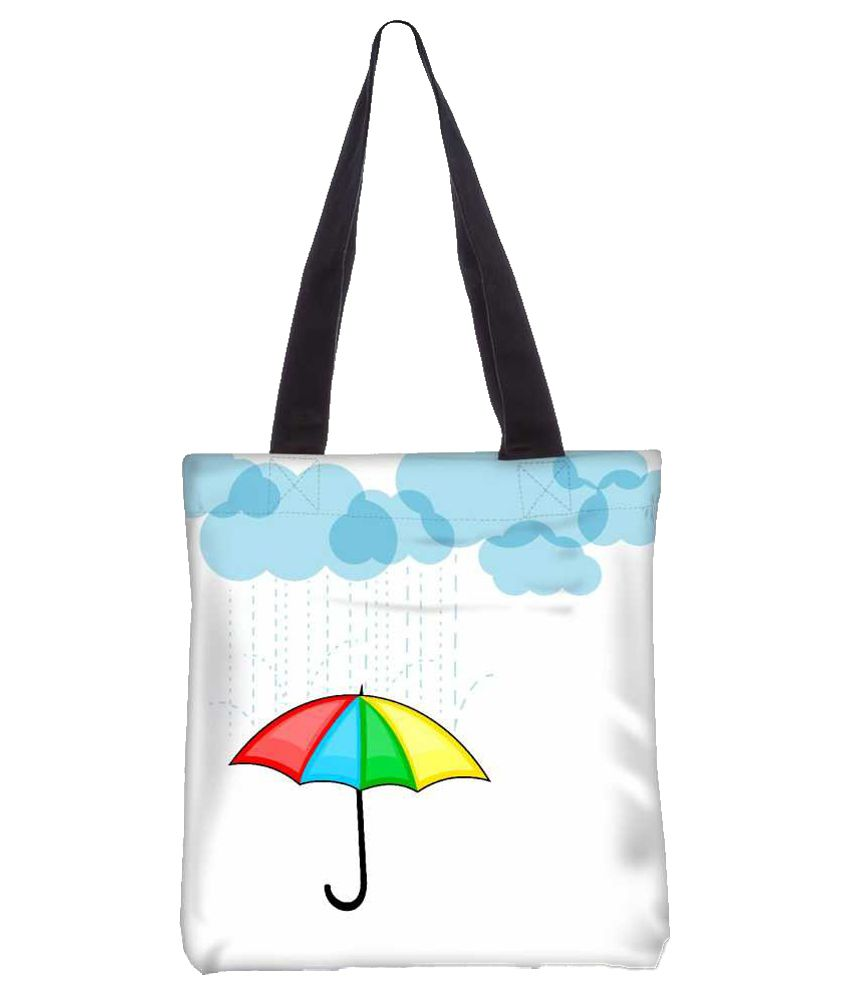Snoogg White Canvas Tote Bag