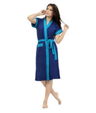 f9e0fd2afd Poorak Solid Dark Blue XXL Bath Robe(1 Bath Gown