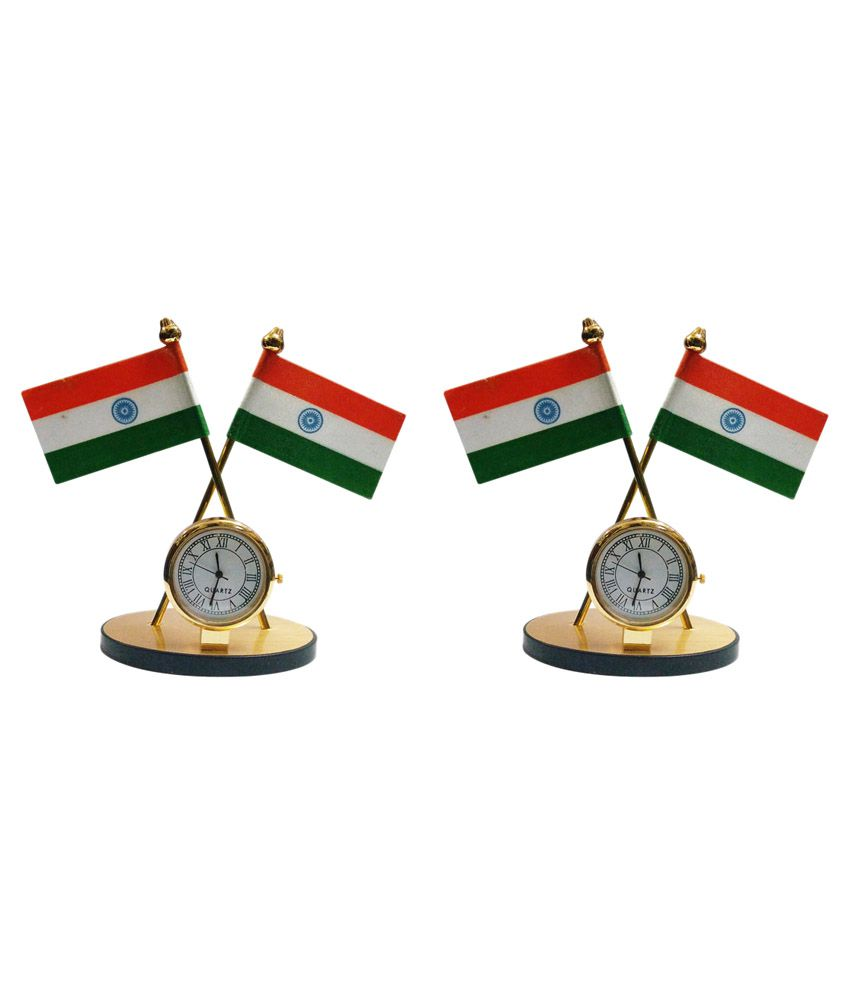 Gold Dust Indian Flag with Clock Symbol - Set of 2