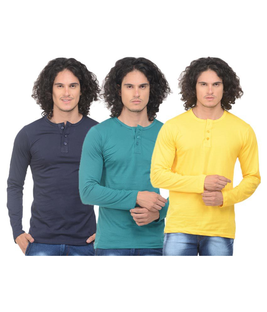VS Fashion Multi Henley T-Shirt Pack of 3