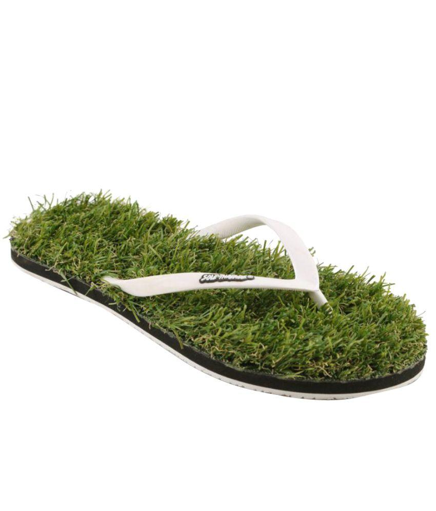 Sole Threads White & Green Flip Flops