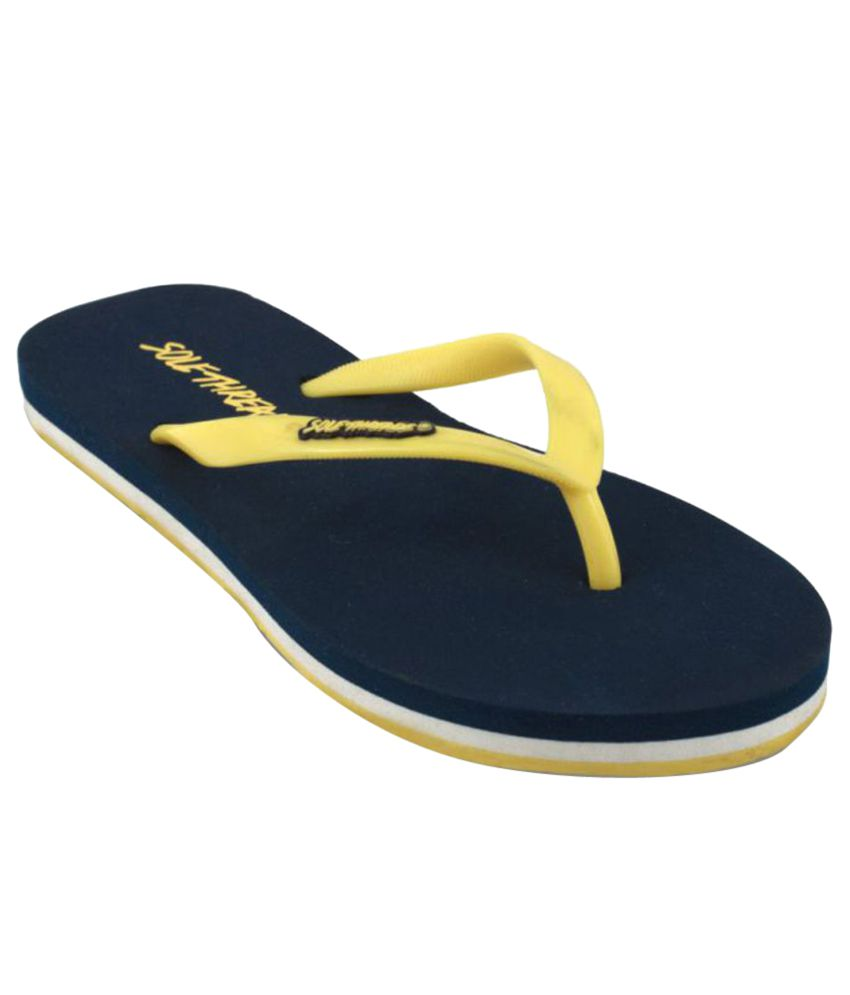 Sole Threads Yellow & Navy Blue Flip Flops