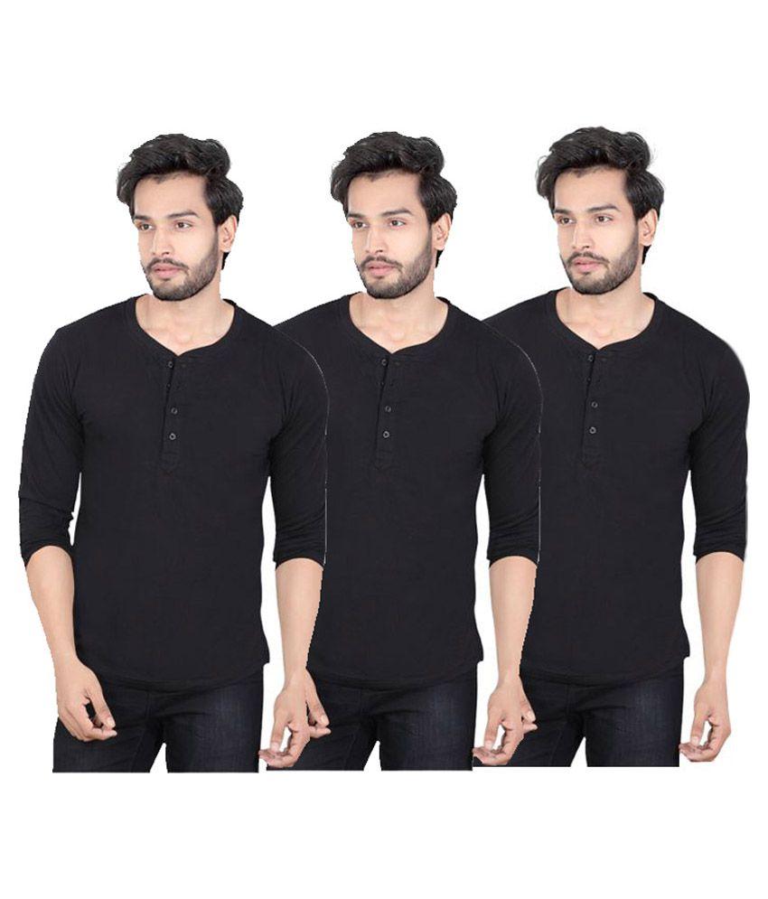 LUCFashion Black Henley T-Shirt - Pack of 3