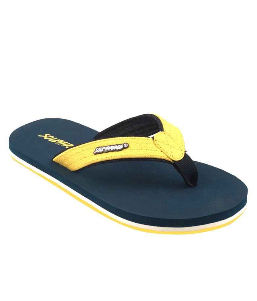 2df4972ed Sole Threads ST Basic (K) Yellow   Navy Blue Flip Flops Price in India- Buy  Sole Threads ST Basic (K) Yellow   Navy Blue Flip Flops Online at Snapdeal