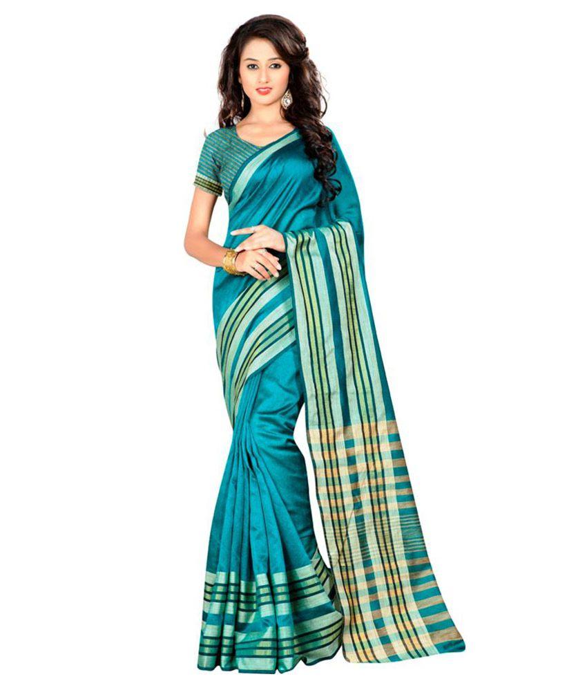 Dhanlaxmi International Turquoise Chanderi Saree