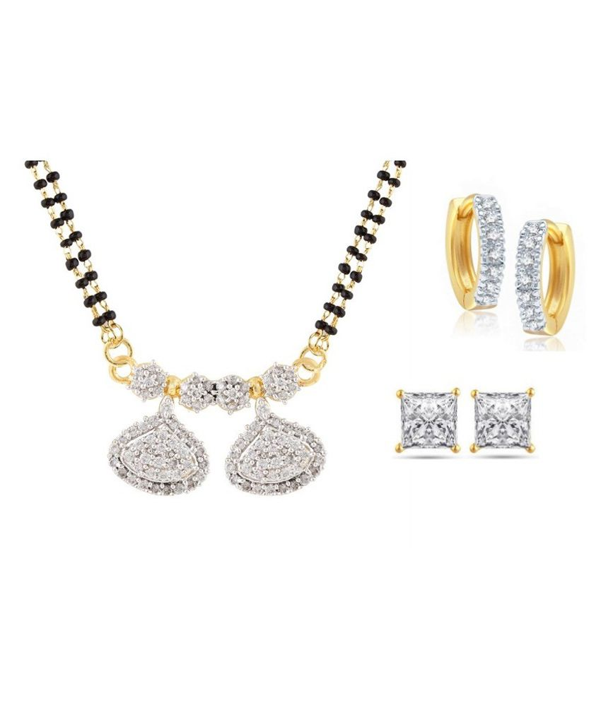 Archi Collection Multicolour Alloy Mangalsutra Set with Earrings