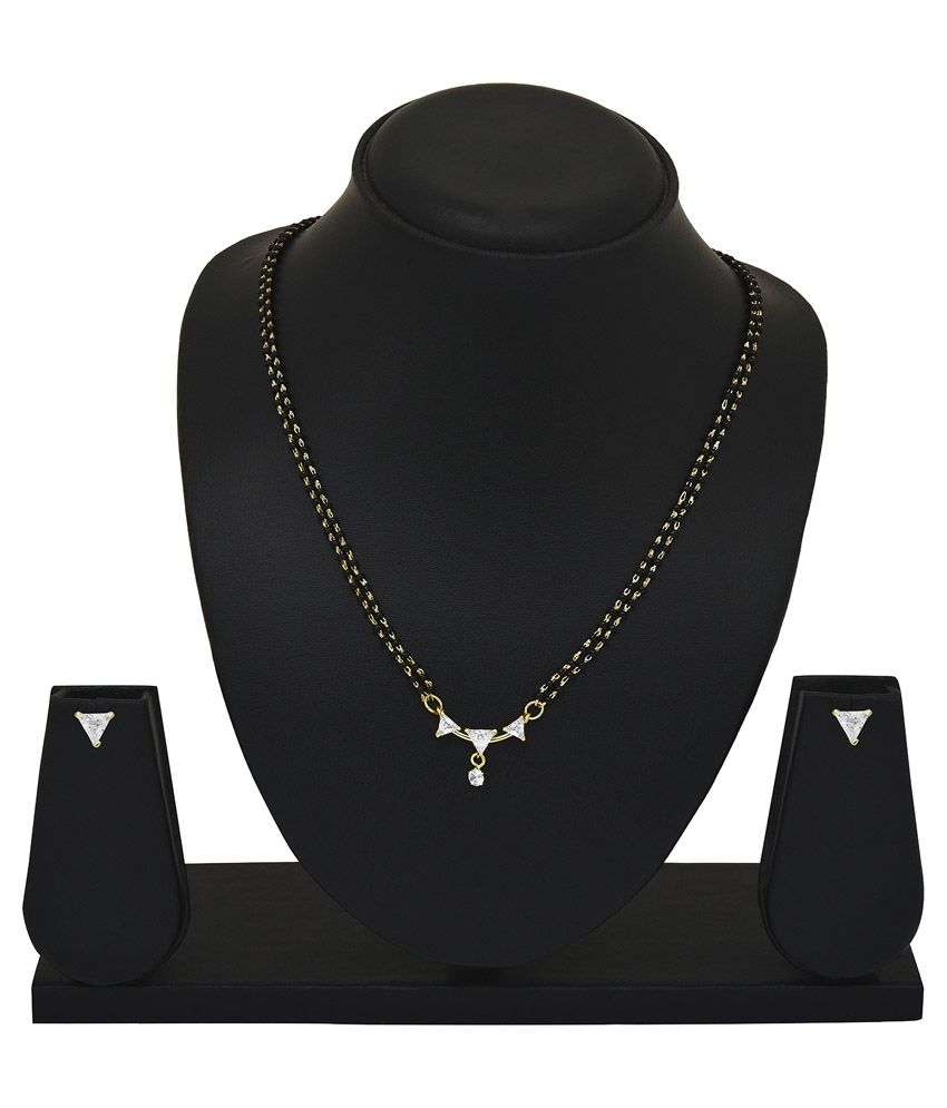 Archi Collection White Alloy Mangalsutra Set