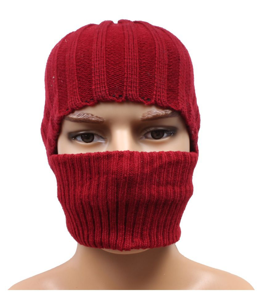 Jstarmart Maroon Skull Cap With Woolen Head Band
