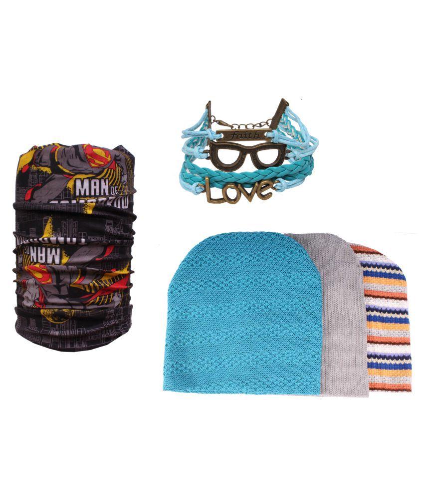 Sushito Multi Colour Woolen Caps With Bandana & Wrist Band