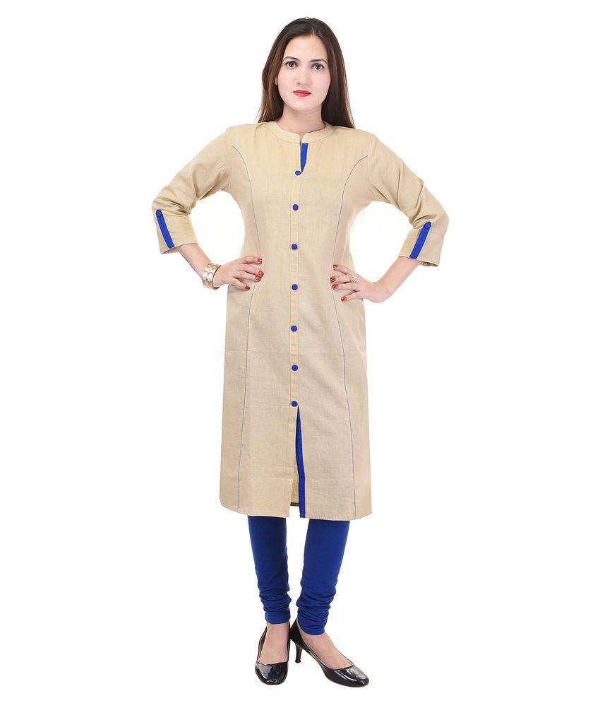 Raaz Beige Cotton Shirt style Handwoven Kurti