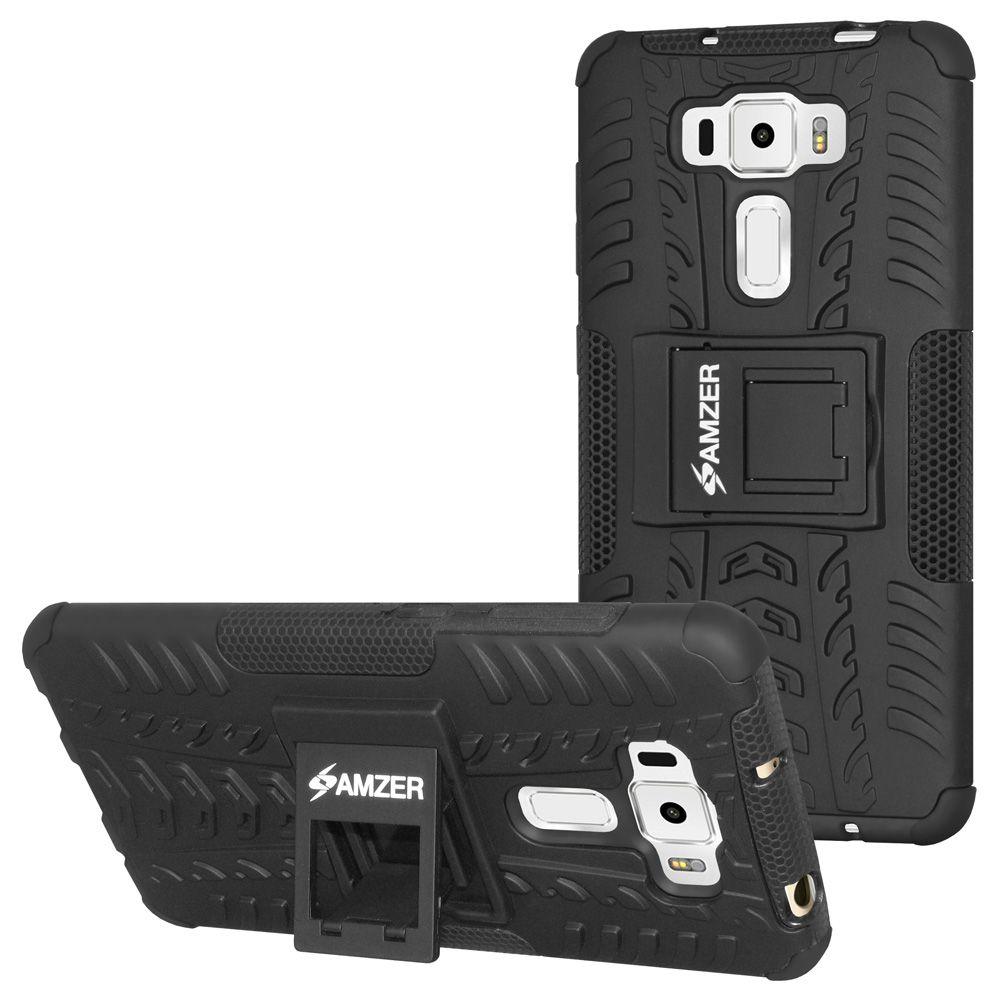 Amzer Hybrid Warrior Case Black For Asus Zenfone 3 Ze552kl