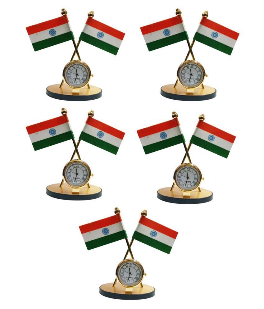 Gold Dust's Indian Flag with Clock Symbol for Car Dashboard - Set of 5