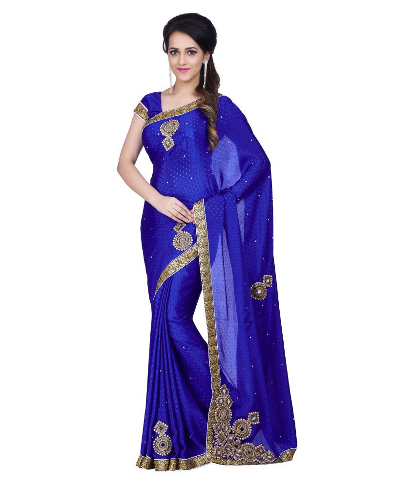 sareeshop designer sarees blue chiffon saree buy. Black Bedroom Furniture Sets. Home Design Ideas