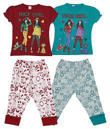 Dear Kids Multicolor Cotton Nightsuits - Pack of 2