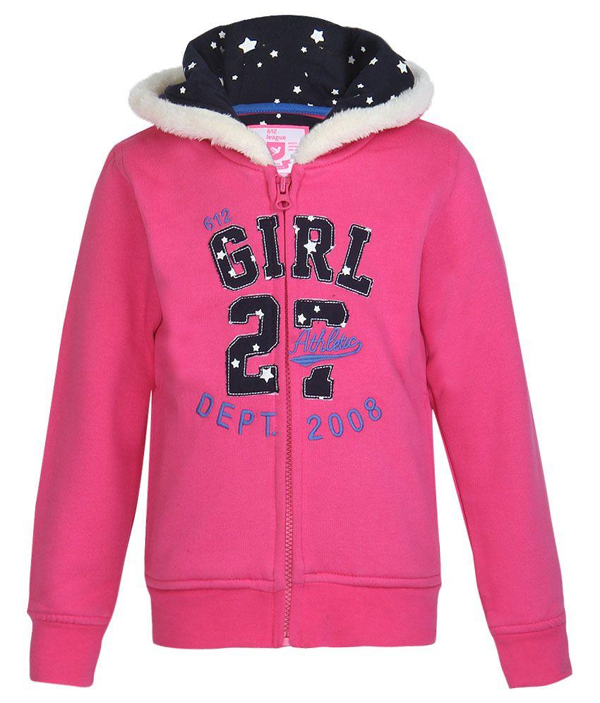 612 League Fuchsia Pink Solid Zippered Sweatshirt