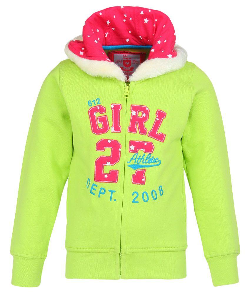 612 League Green Solid Zippered Sweatshirt