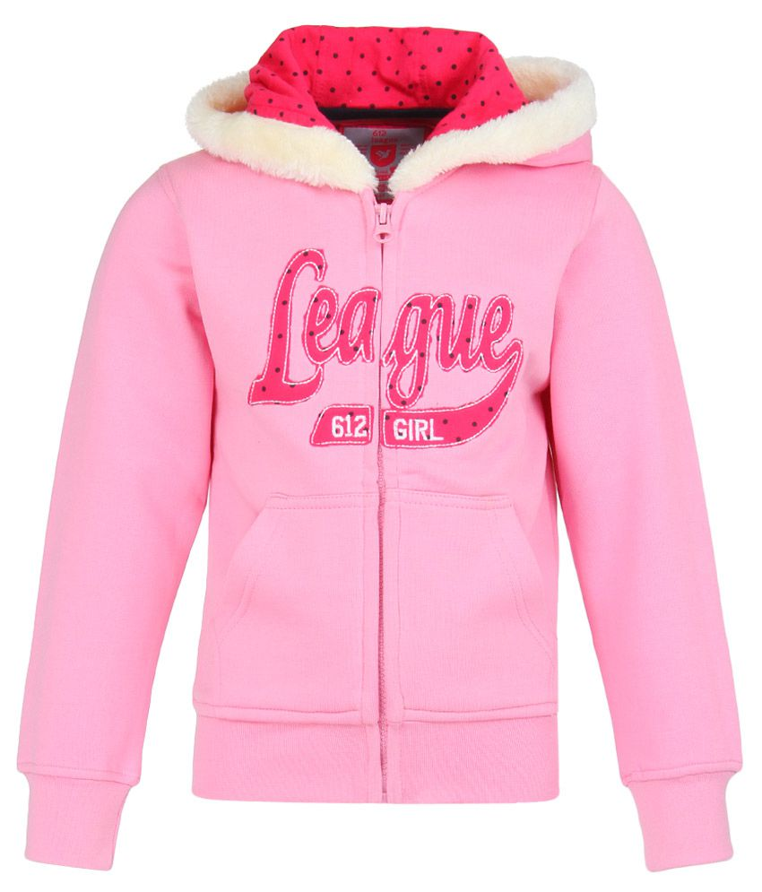 612 League Pink Solid Zippered Sweatshirt