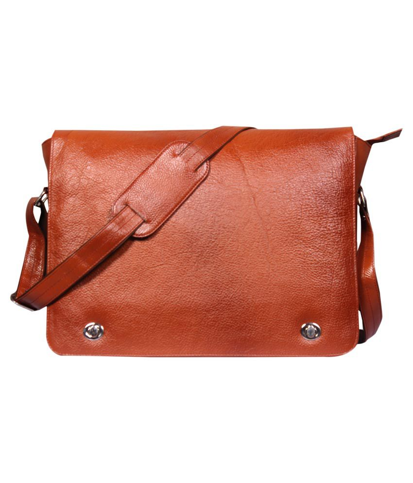 Leather World Tan Leather Office Messenger Bag