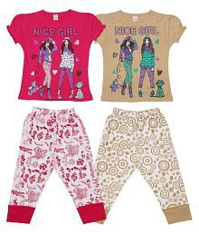 Dear Kids Multicolour Cotton Nightsuit - Pack of 2
