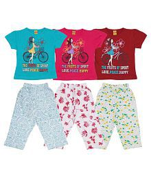 Dear Kids Multicolour Cotton Night Suit Set - Pack of 3