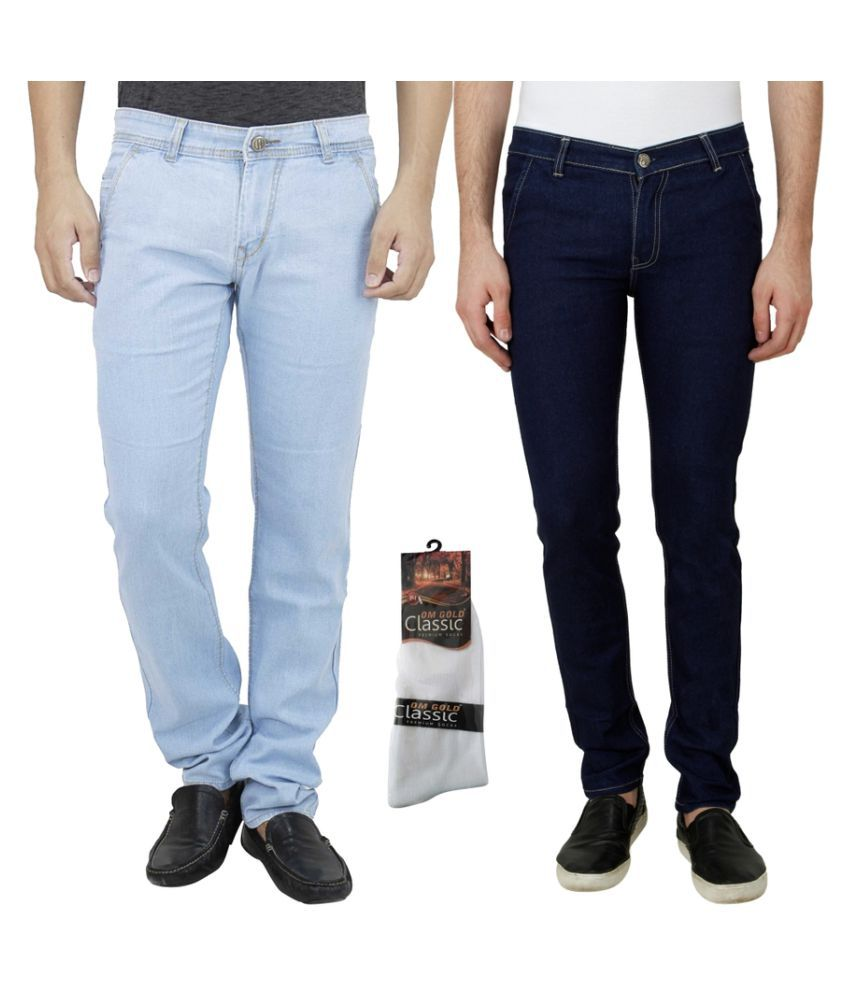 Haltung Blue Slim Solid Combo of 2 Jeans with 1 Pair of Socks