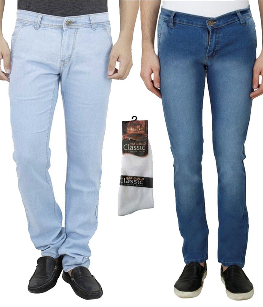 Haltung Multicolour Slim Solid Combo Of 2 Jeans With 1 Pair Of Socks