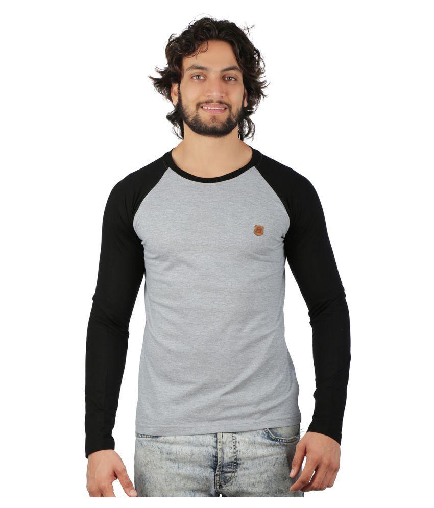 Black And Denim Grey Round T-Shirt