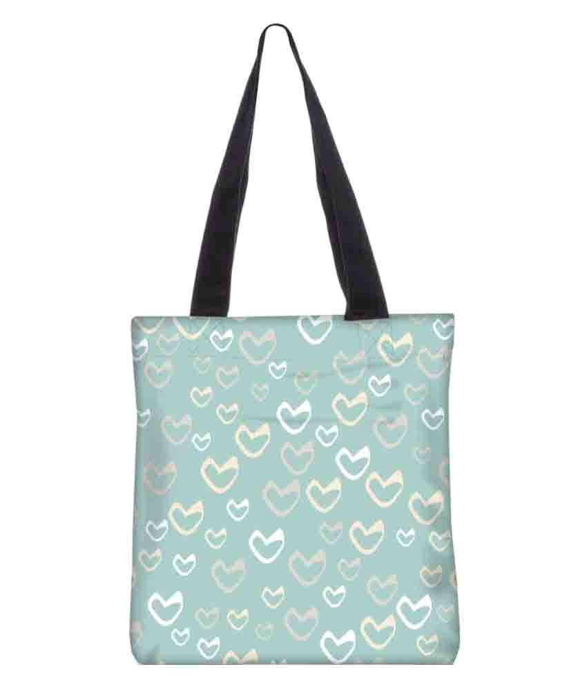 Snoogg Turquoise Canvas Tote Bag