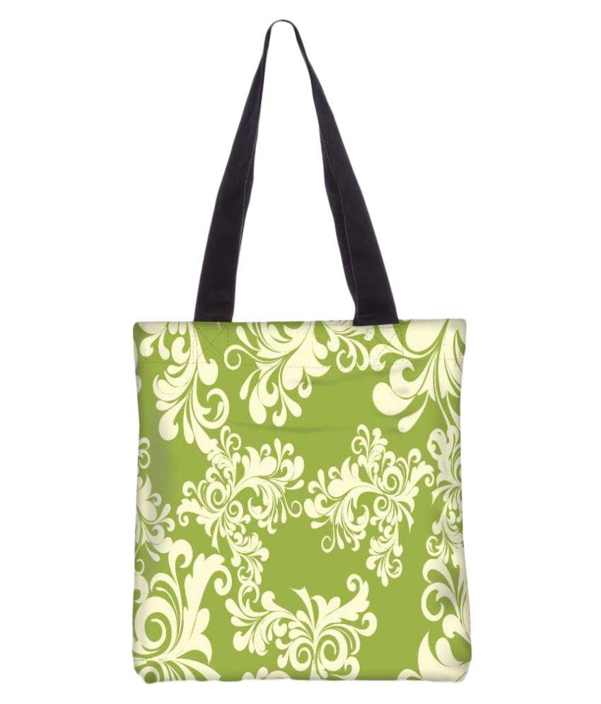 Snoogg Green Canvas Tote Bag