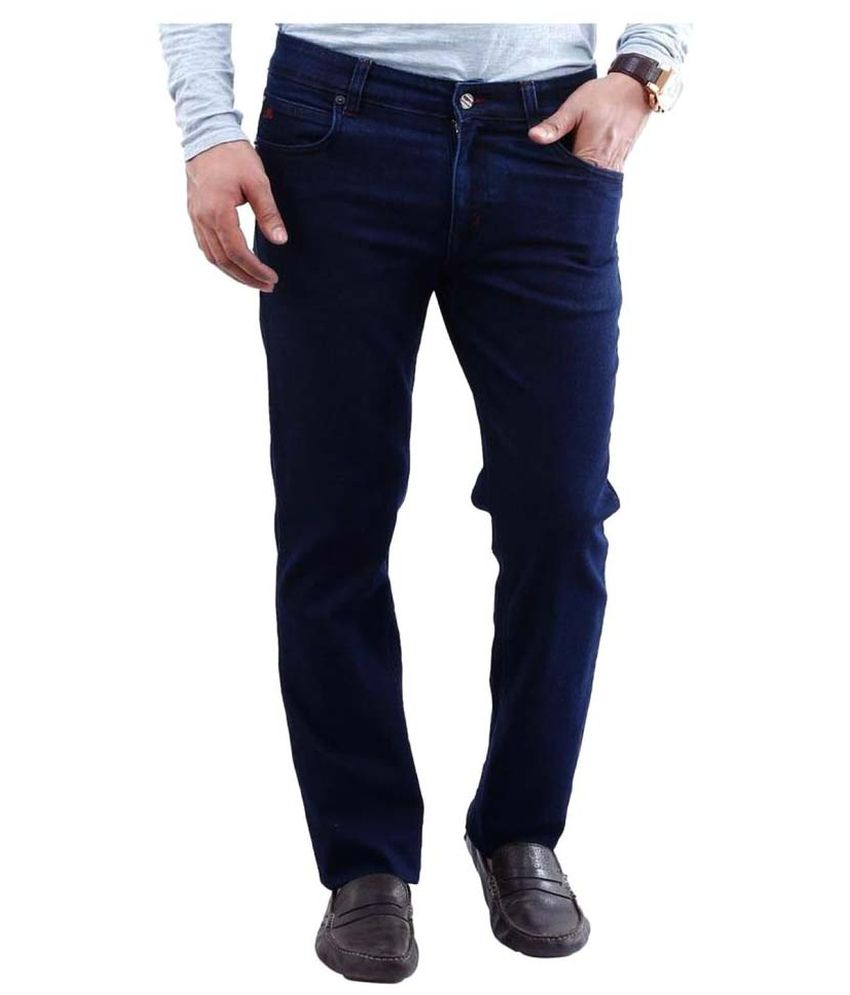 La Mode Navy Blue Straight Solid