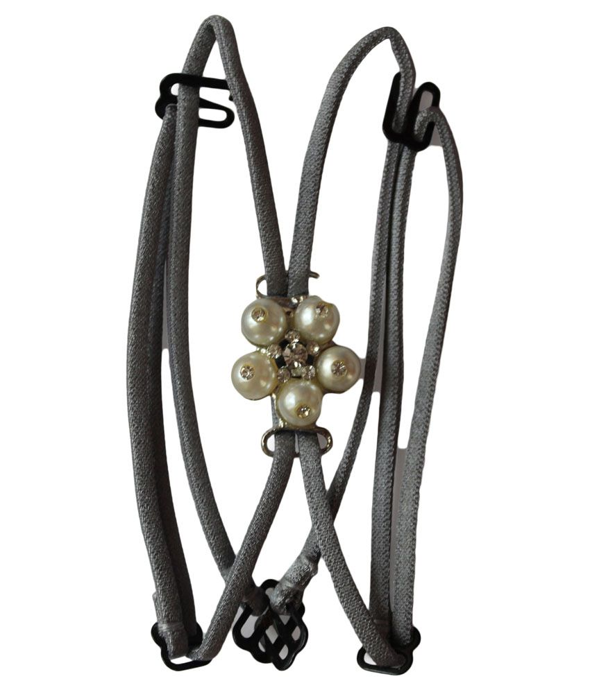 Clovia Detachable Double String Straps In Grey With Pearl Floral Pendant