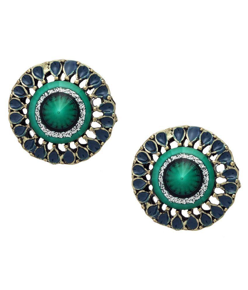 Crunchy Fashion Green Designer Earrings