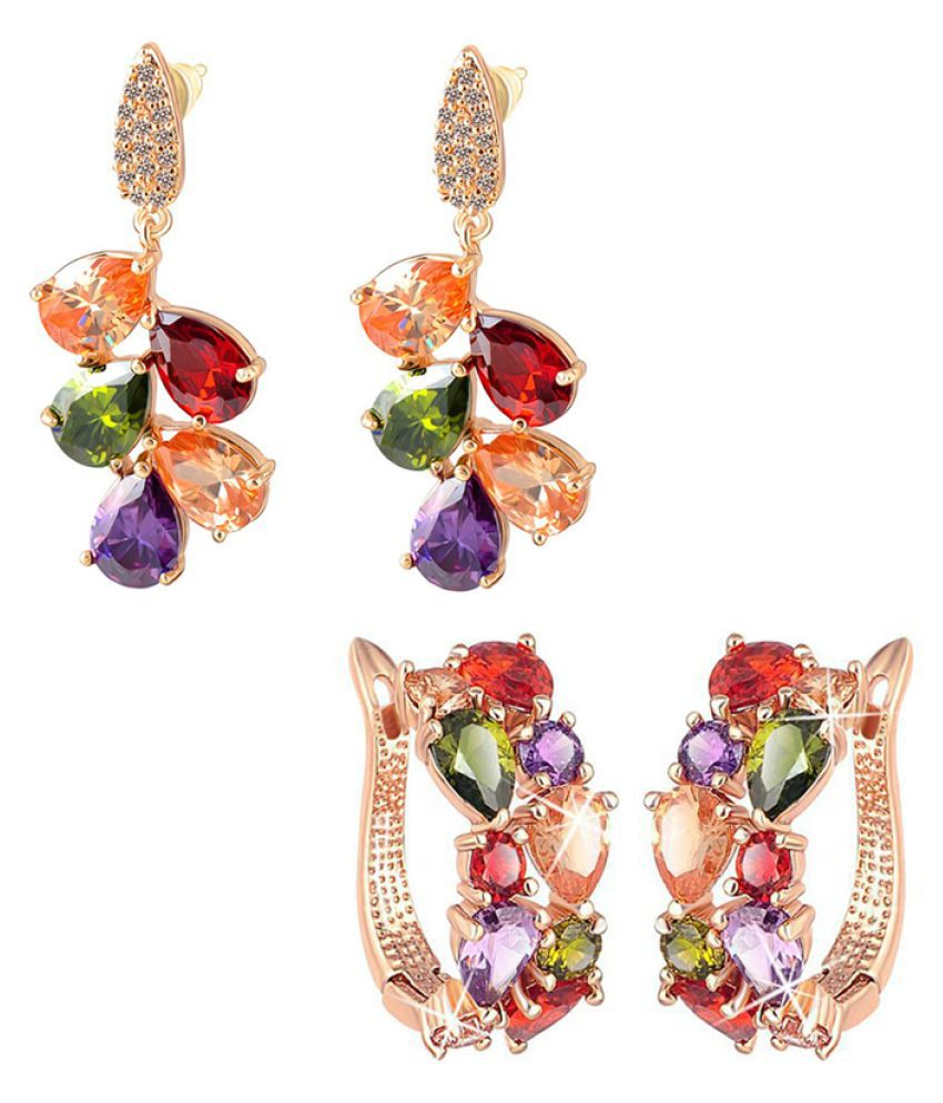 Jewels Galaxy Multicolour  Designer Earrings  - Pack Of 2