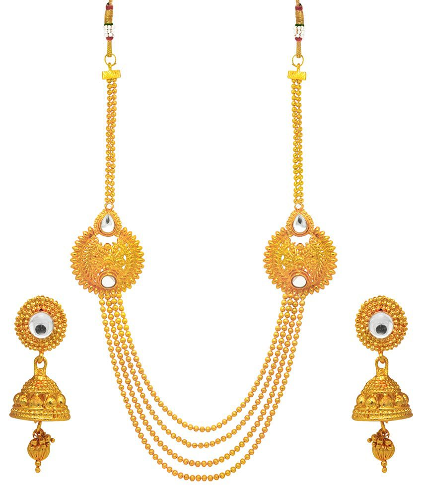 Om Jewells Kundan Studded Golden Necklace Set