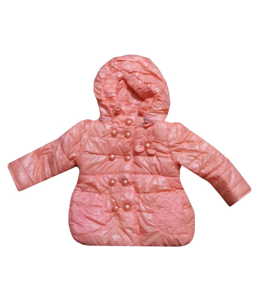 Assent Store Peach Polyester Jacket for Girls