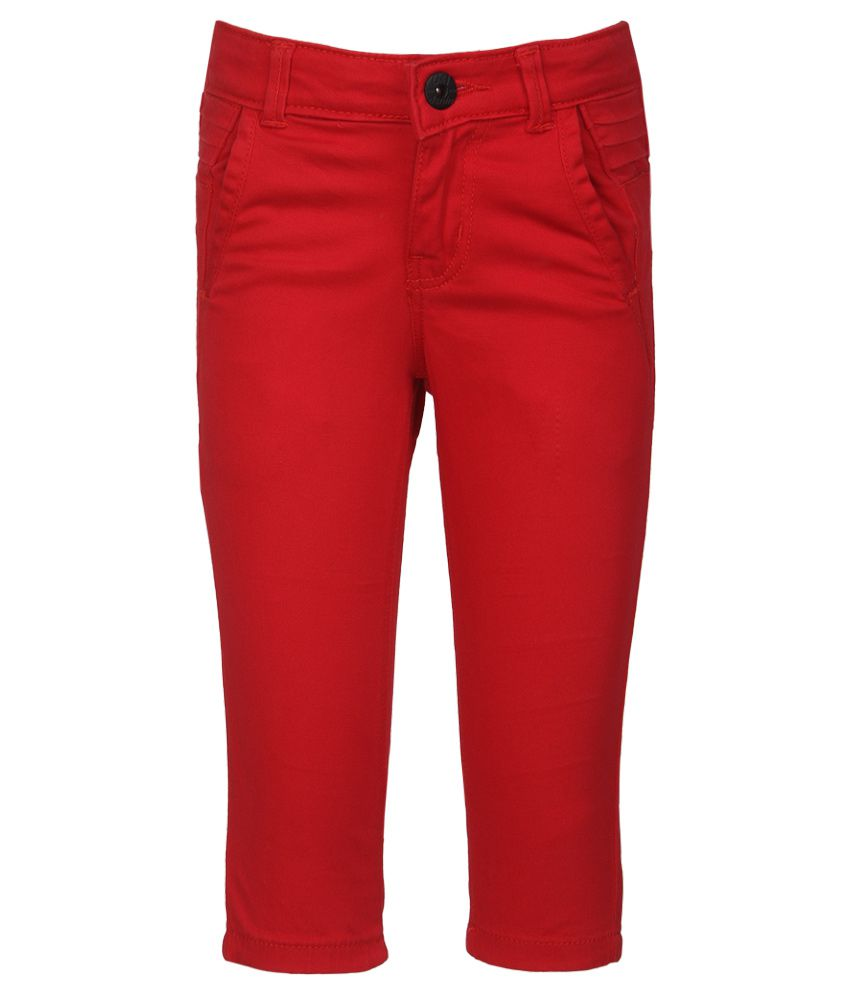 Gini & Jony Red Cotton Capris