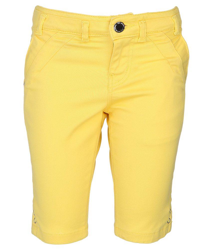Gini & Jony Yellow Cotton Shorts