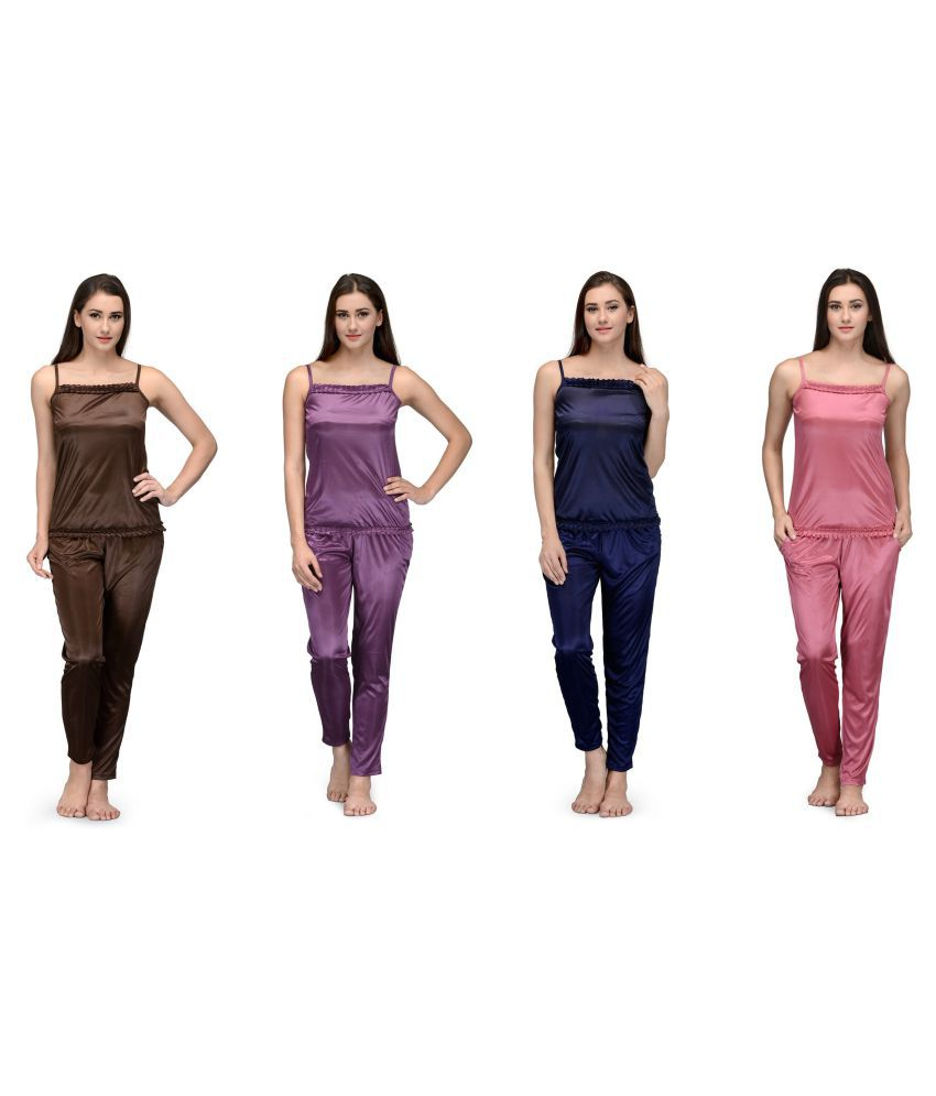 Winsome deal Multi Color Satin Nightsuit Sets - Pack of 4