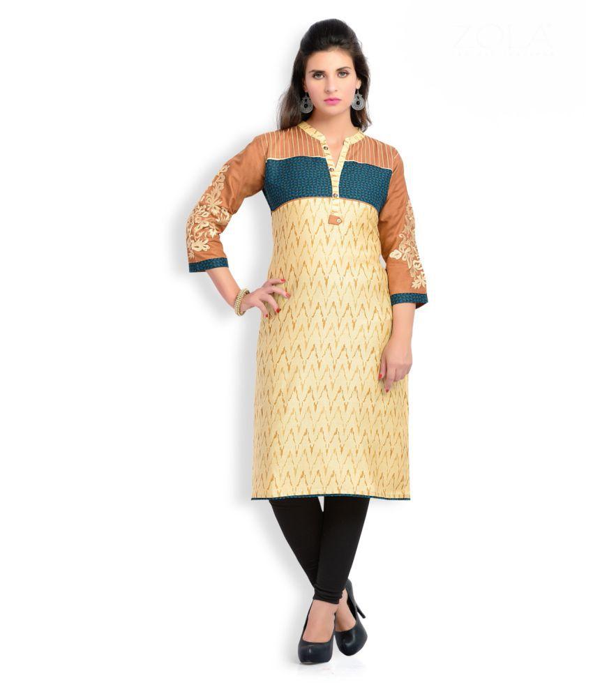 Zola Multicoloured Cotton Shirt style Self print Kurti