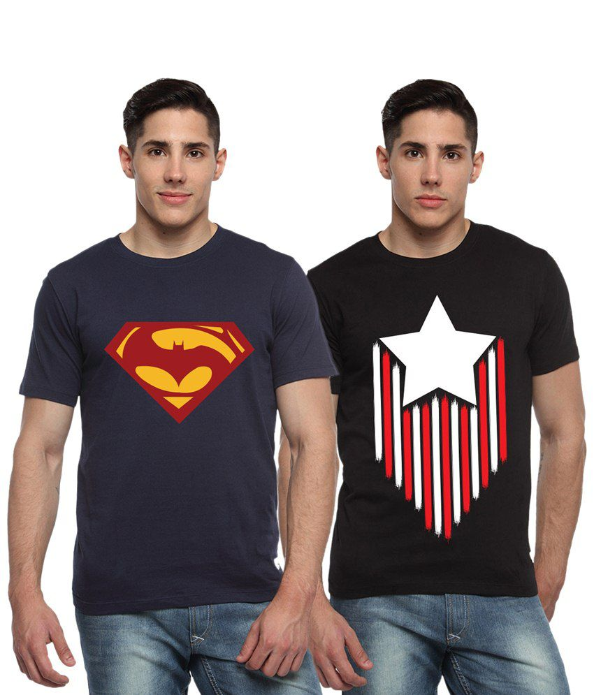 Adro Combo of 2 Navy Blue & Black Batman, Superman & Captain America Logo Half Sleeves T Shirts