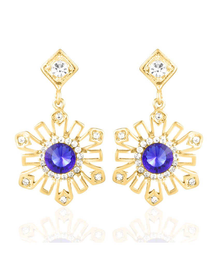 BIG Tree Gold And Blue Diamond Flower Earring For Women