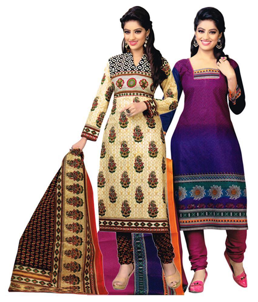 Diyastyle Beige & Multicolour Cotton Unstitched Salwar Suit Dress Material