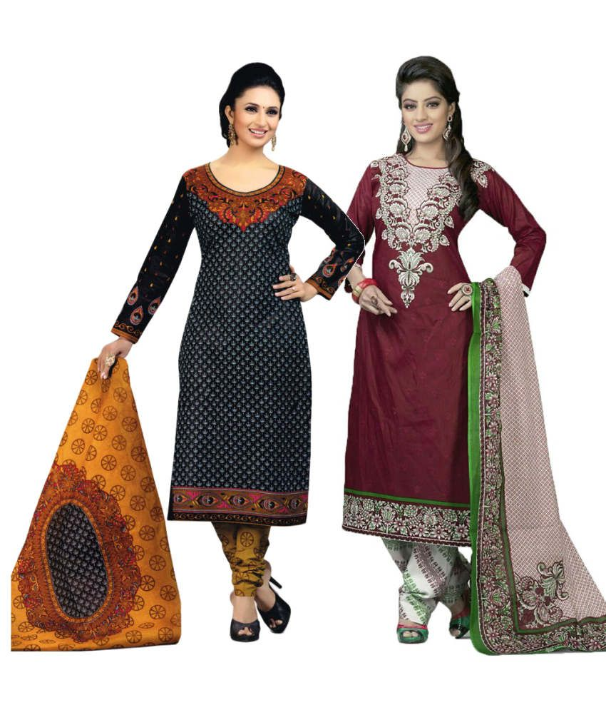 Diyastyle Black and Maroon Cotton Dress Material (Pack of 2)
