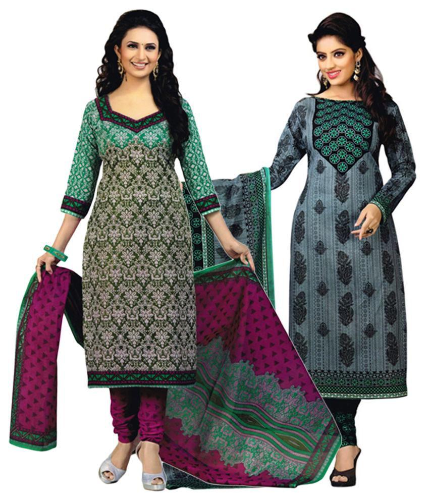 Diyastyle Multicolour & Gray Cotton Unstitched Salwar Suit Dress Material