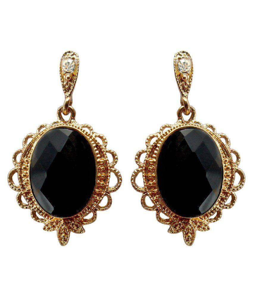 Kamal Jeweller Alloy Black Chandelier Earrings