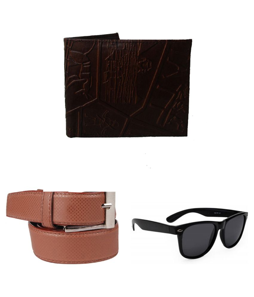 Lenin Combo of Brown Leather Belt with Wallet and Sunglasses
