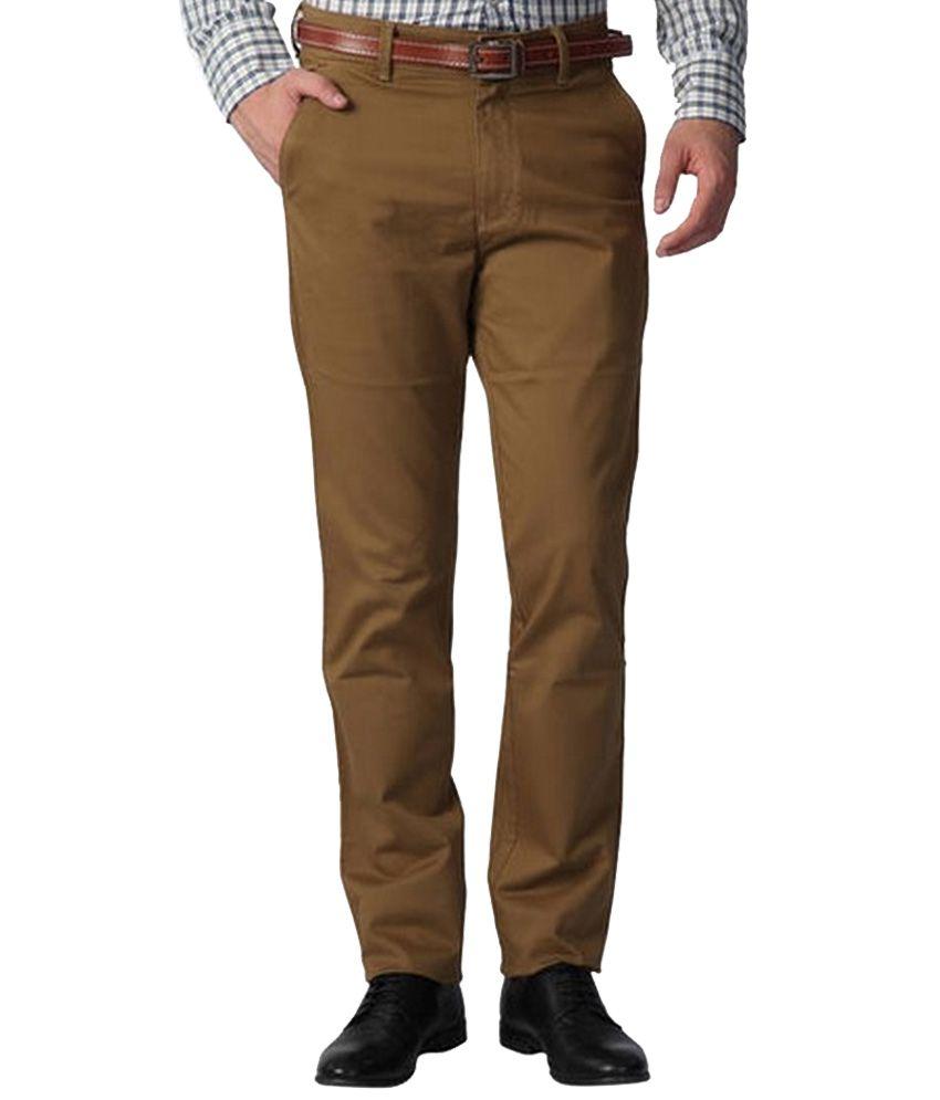 Patloon Brown Regular Fit Flat Trouser