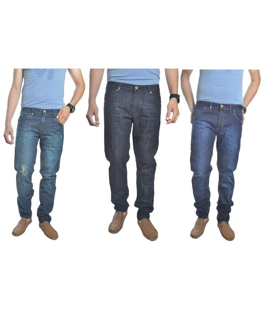 Reckler Pack of 3 Blue Slim Fit Jeans