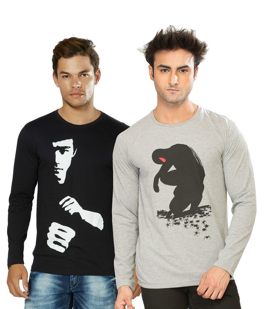 Alan Jones Grey & Black Cotton T-Shirt Pack Of 2