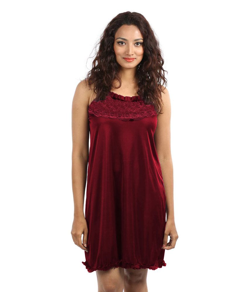 807b1239b27 Buy Klamotten Maroon Satin Baby Doll Dresses Online at Best Prices in India  - Snapdeal